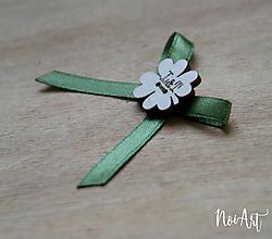 Pierka - Svadobné pierka olivovo zelené, štvorlístok - 10407795_