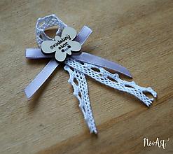 Pierka - Svadobné pierka pre rodičov a svedkov bledo fialová, motýlik - 10407923_