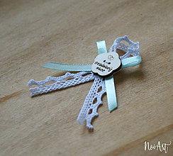 Pierka - Svadobné pierka pre rodičov a svedkov mint, kvetinka - 10408006_