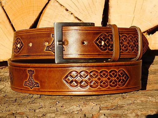 Kožený opasok 4 cm - Thorove kladivo