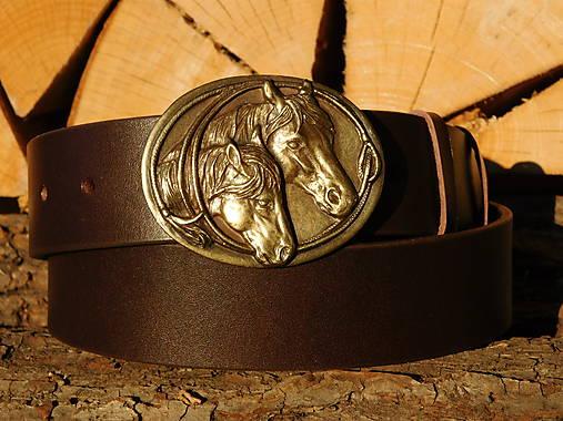 Kožený opasok 4 cm - Koníky