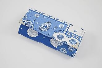 Peňaženky - Modro-biela patchworková peňaženka - 10406117_