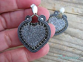 Náušnice - Valentínska kolekcia...soutache (šedé) - 10408920_