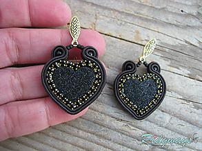 Náušnice - Valentínska kolekcia...soutache (čierne) - 10408999_
