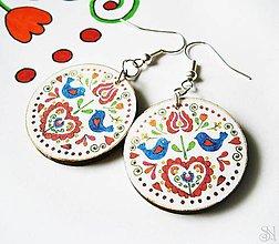 Náušnice - Farebné folklórne visiace náušnice - kruhy - 10408781_