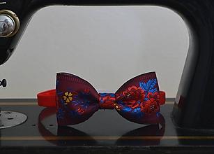 Doplnky - Pánsky motýlik s ľudovým motívom  (Bordová) - 10406677_