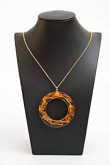 Náhrdelníky - Náhrdelník Oranžová orchidea kruh (2560 A CHO) - 10407764_