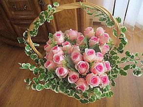 Dekorácie - Kôš plný ruží - 10409792_