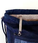 Batohy - Denim batoh + puzdro - 10408750_
