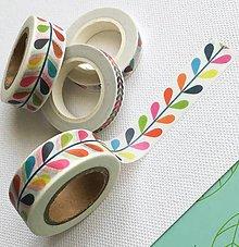 Papier - dekoračná papierová páska Dúhové lístky - 10406764_