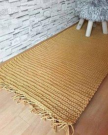 Úžitkový textil - Háčkovaný koberec horčicový - 10406403_