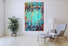 Slnko vo vodopáde - XL  pestrofarebný abstrakt