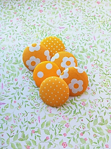 Materiál ručne robený - gombík button/séria žltá 6ks - 10406338_