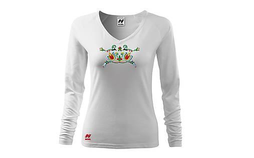 Vyšívané dámske tričko s folklórnym motívom, dlhý rukáv
