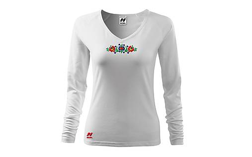 Vyšívané dámske tričko s kvetinovým motívom, dlhý rukáv