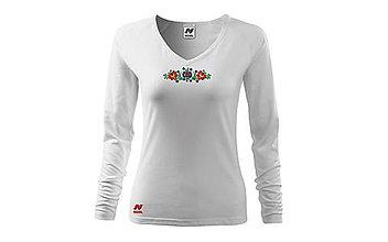 Tričká - Vyšívané dámske tričko s kvetinovým motívom, dlhý rukáv - 10406442_