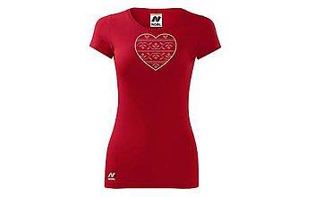 Tričká - Vyšívané dámske tričko s folklórnym motívom srdca, krátky rukáv - 10407991_