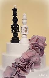 Dekorácie - Kráľ a kráľovná II. - šachové figúrky na svadobnú tortu - 10409076_