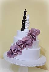 Dekorácie - Kráľ a kráľovná II. - šachové figúrky na svadobnú tortu - 10409077_