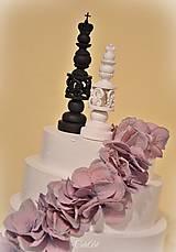 Dekorácie - Kráľ a kráľovná II. - šachové figúrky na svadobnú tortu - 10409078_