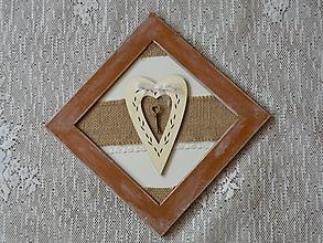 Dekorácie - Romantický obrázek se srdíčkem a klíčem6 - 10409896_