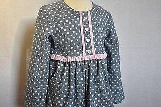 Detské oblečenie - Blúzka detská džínsová s vreckami - 10408738_