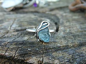 Prstene - Strieborny prsteň Ag925 Akvamarín - 10407120_