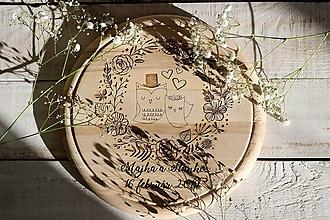 Pomôcky - Drevené denko - zaľúbené sovičky - 10408049_