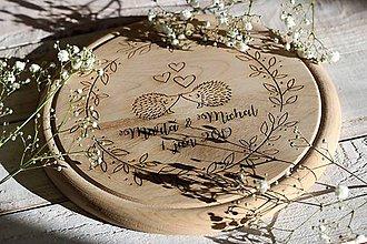 Pomôcky - Drevené denko - ježurkovia - 10408097_