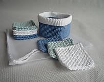 Úžitkový textil - Kozmetické tampóny sada - štvorec (Modrá) - 10407602_