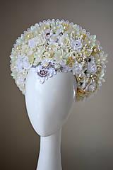 Ozdoby do vlasov - Romantická biela (ne)tradičná svadobná parta - 10408584_