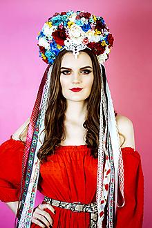 Ozdoby do vlasov - Folklórna (ne)tradičná svadobná parta - 10408101_