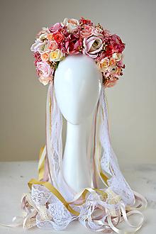 Ozdoby do vlasov - Ružová (ne)tradičná svadobná parta - 10408283_