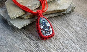 Náhrdelníky - Náhrdelník - indiánska mozaika ORIGINÁL (červený, č. 2575) - 10408360_