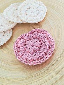 Úžitkový textil - Háčkovaný EKO odličovací tampón - 1 ks (svetlá staroružová) - 10410153_