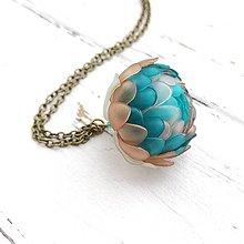 Náhrdelníky - Listopadka petrolej- náhrdelník z PET - 10406059_