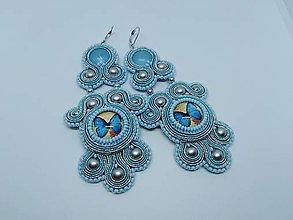 Náušnice - Modré motýliky- šujtášové náušnice - zľava - 10408704_