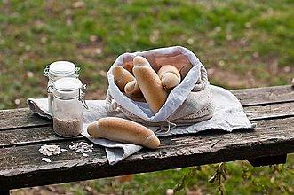 Úžitkový textil - Podšité vrecko na chlieb a pečivo z ručne tkaného ľanu 3v1 - 10407328_