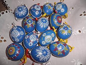 Dekorácie - Kraslica voskovaná modrá - 10411763_