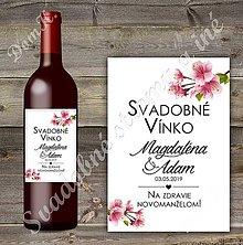 Grafika - Svadobná etiketa Cherry blossom 2 - 10413435_