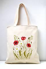- Nákupná taška-Divé maky a margaréty - 10410690_