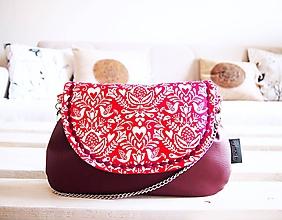 Kabelky - Červeno-biela folk kabelka s bordó koženkou - 10410726_