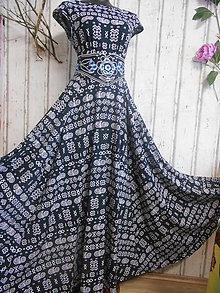 """Šaty - FLORAL FOLK """" Čičmany Black & white """", spoločenské dlhé šaty - 10412944_"""