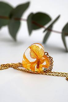 Náhrdelníky - Náhrdelník Srdce oranžová orchidea (2561 A CHO) - 10413502_