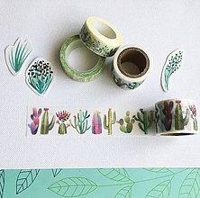 Papier - ozdobná papierová páska Akvarelové kaktusy - 10411439_