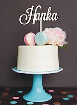 Dekorácie - Drevené meno na tortu - 10413095_