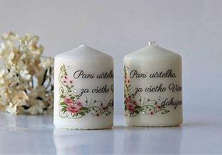 Svietidlá a sviečky - Duo dekoračných sviečok pre pani učiteľky - 10413505_