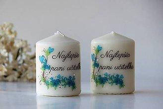 Svietidlá a sviečky - Duo dekoračných sviečok pre pani učiteľky - 10413512_
