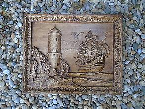 Obrazy - Maják s loďou - 10412501_