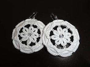 Náušnice - Háčkované náušnice- Prírodné- Biele kvety - 10413587_